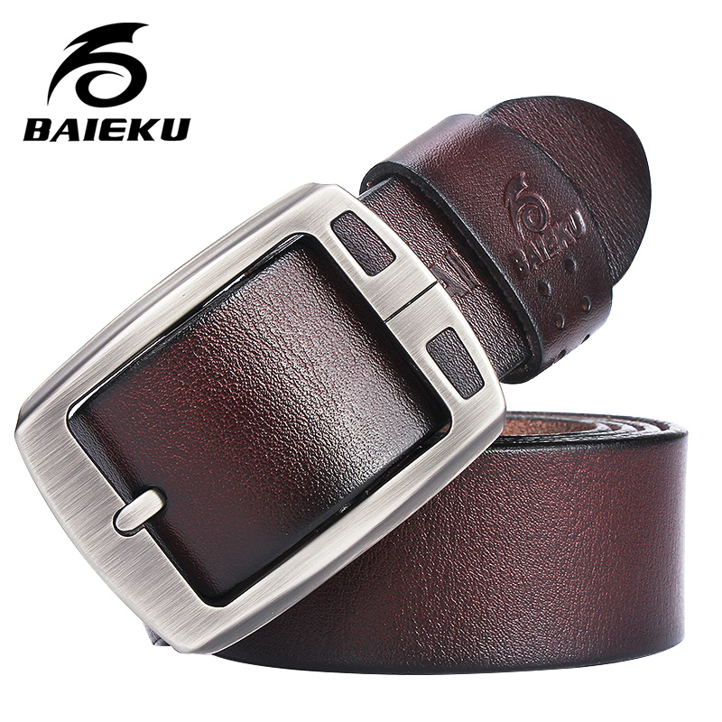 Genuine Cowhide Leather Belts For Men Brand Strap Male Pin Buckle Fancy Vintage Jeans Cintos  BAIEKU 2018 NEW