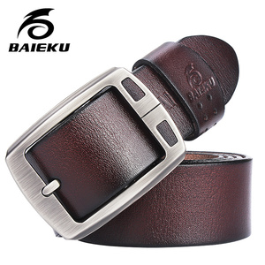 Image 1 - genuine cowhide leather belts for men brand Strap male pin buckle fancy vintage jeans cintos  BAIEKU 2018 NEW