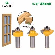 """3 sztuk 12mm 1/2 """"Shank zestaw wierteł frezarskich frezowanie Bit okrągły ponad koralik rama drzwi T V kształt frezowanie nóż do drewna elektronarzędzia 03028"""