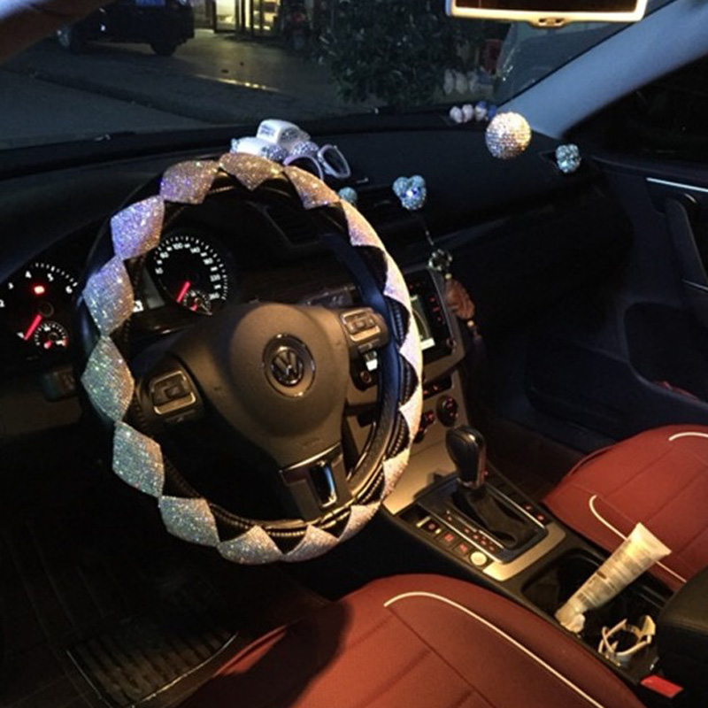 MUNIUREN Luxury naiste teemant nahast auto rool hõlmab Bling Crystal - Auto salongi tarvikud - Foto 4