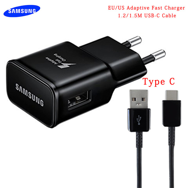 Original Samsung Adaptive Fast Charger USB Quick Adapter 1.2/1.5M TYPE C Cable For Galaxy S8 S9 Plus Note 8 9 A3 A5 A7 2017