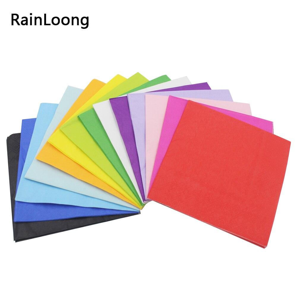 [Rainloong] сплошной цвет бумажные салфетки декупаж печатные напитков события и партия ткани салфетки украшения салфетки