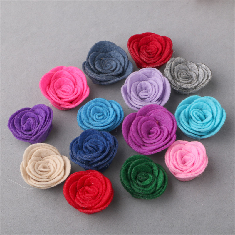 Mini Order 5pcs/lot 25MM Wool Felt Fabric Rose Flower Buttons Flataback Handmade 3D Button Patch Stickers Fit Girls Hair Jewelry