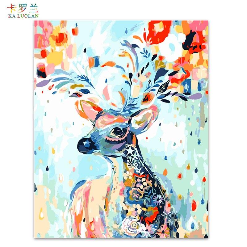 Rahmenlose bilder malen nach zahlen handgemalten leinwand cartoon zeichnung diy ölgemälde durch zahlen 40*50 cm Bunte deer