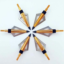 6pcs /LOT 125 Grain Golden 3 Blades Steel Broadheads Outdoor Crossbow Tips Hunting Arrowheads