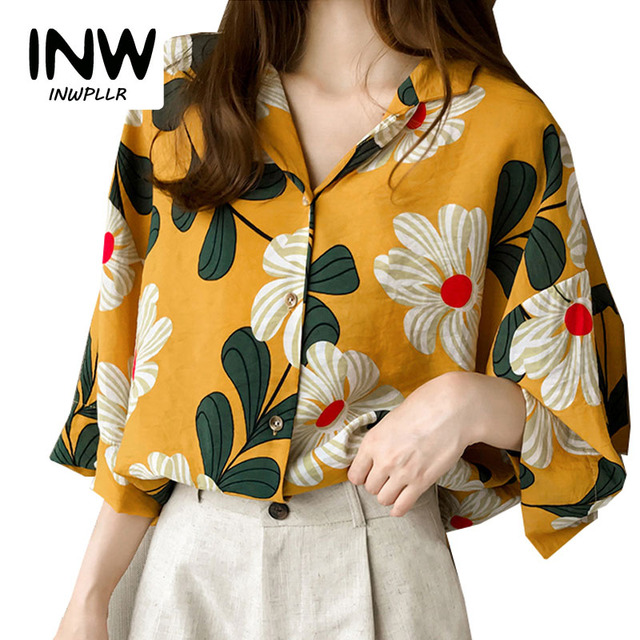 ac9e732e7bc9 Summer Tops Women Blouses 2019 New Chic Flower Shirt Casual Chiffon Blusas  Mujer Fashion Print Tops
