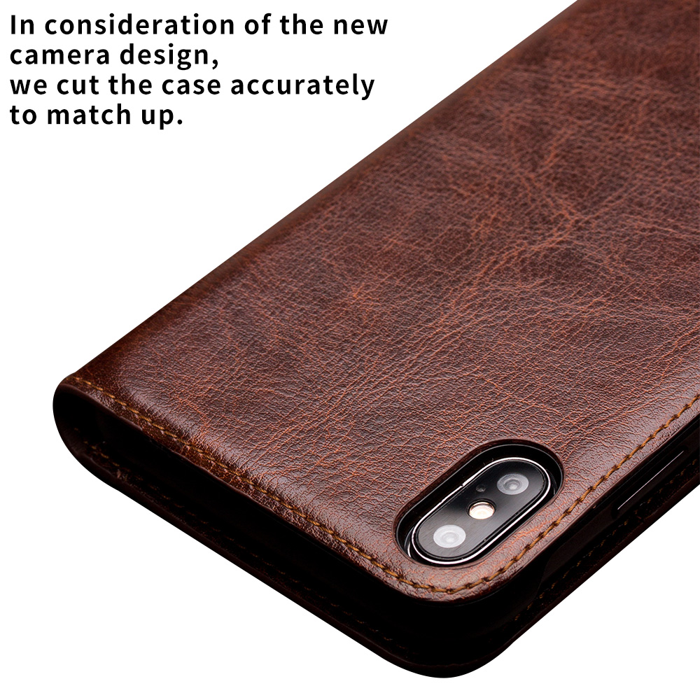 Image 2 - QIALINO Luxury Ultra Slim Phone Case for iPhone XS/XR Handmade  Genuine Leather Wallet Card Slot Bag Flip Cover for iPhone XS MaxFlip  Cases
