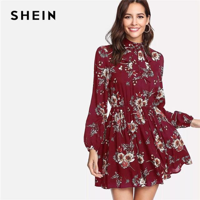 SHEIN Autumn Floral Women Dresses Multicolor Elegant Long Sleeve High Waist A Line Chic Dress Ladies Tie Neck Dress 4