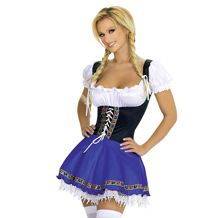 Sexy Blue Bavarian Oktoberfest Ladies Wench Waitress Serving Maid Costume S-3XL Beer Girl Fancy Dress