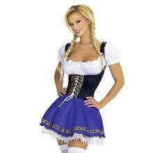 Blu Sexy Bavarese Oktoberfest Signore Mature Cameriera Che Serve La Cameriera Costume S 3XL Beer Girl Fancy Dress