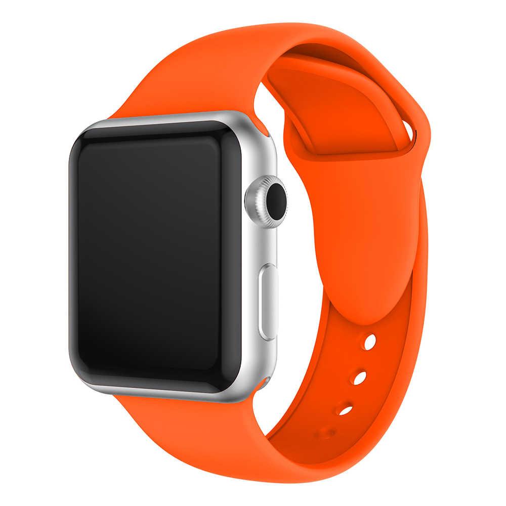 Correa deportiva de silicona suave para Apple Watch serie 1/2/3 38MM 42MM correa de goma de repuesto para iWatch serie 4 muñequera