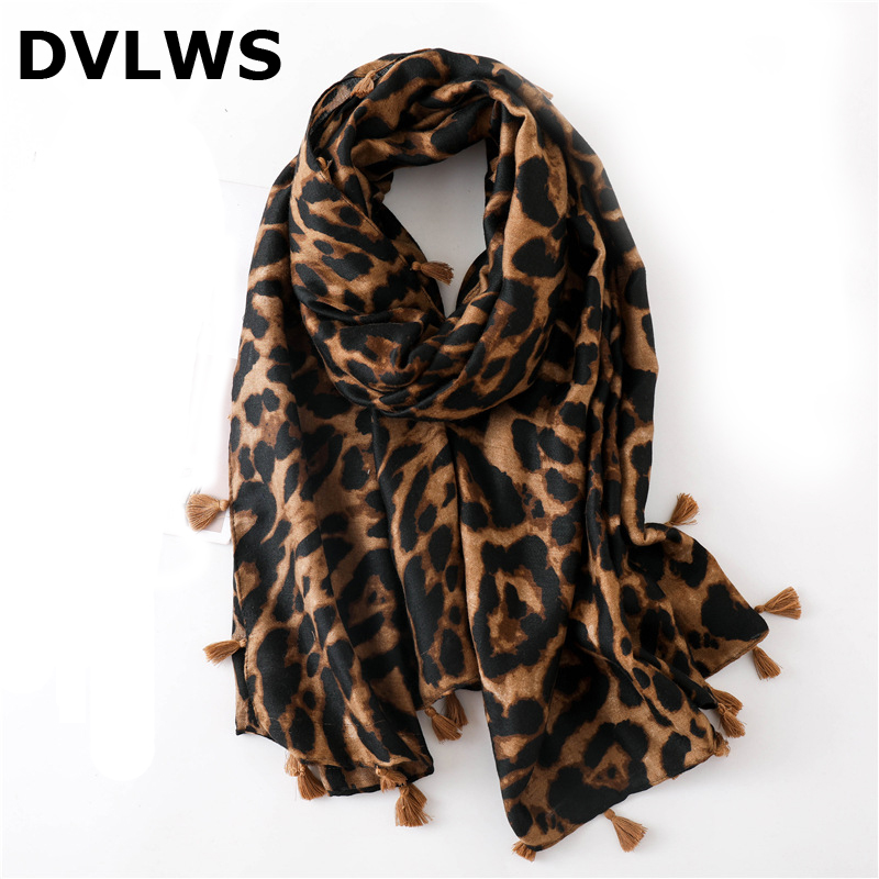 2019 Spring Fashion Classic Leopard Scarf Of Women Brown Blue Cuit Tassel Women's Scarf