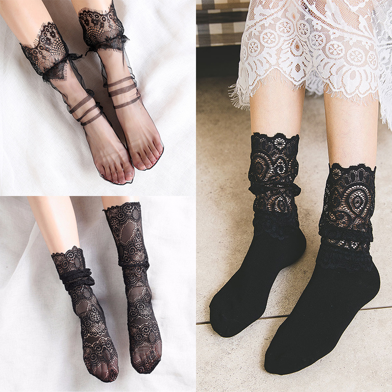 Sale Sexy Retro Lace Floral Mesh Women Girl Socks Elastic 2018 Summer Fashion Lady Transparent Short Socks
