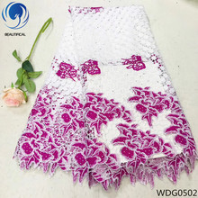 Beautifical pink cord lace nigeria guipure fabric rhinestones 2018 wholesale african high quality 41G05