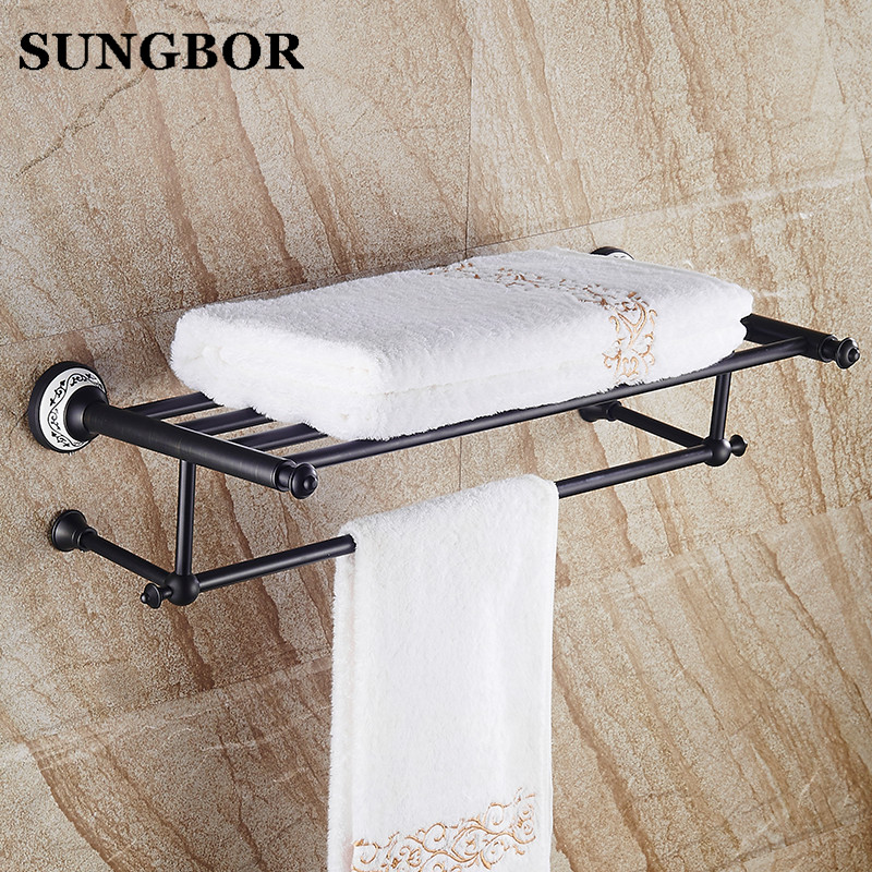 Whole brass Blackend Antique ceramic bath towel rack bathroom towel ...