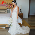 2017 Hot Selling Deep V-neck Mermaid Lace Summer Wedding Dress Bohemian Sleeveless Open Back Boho Bridal Dresses