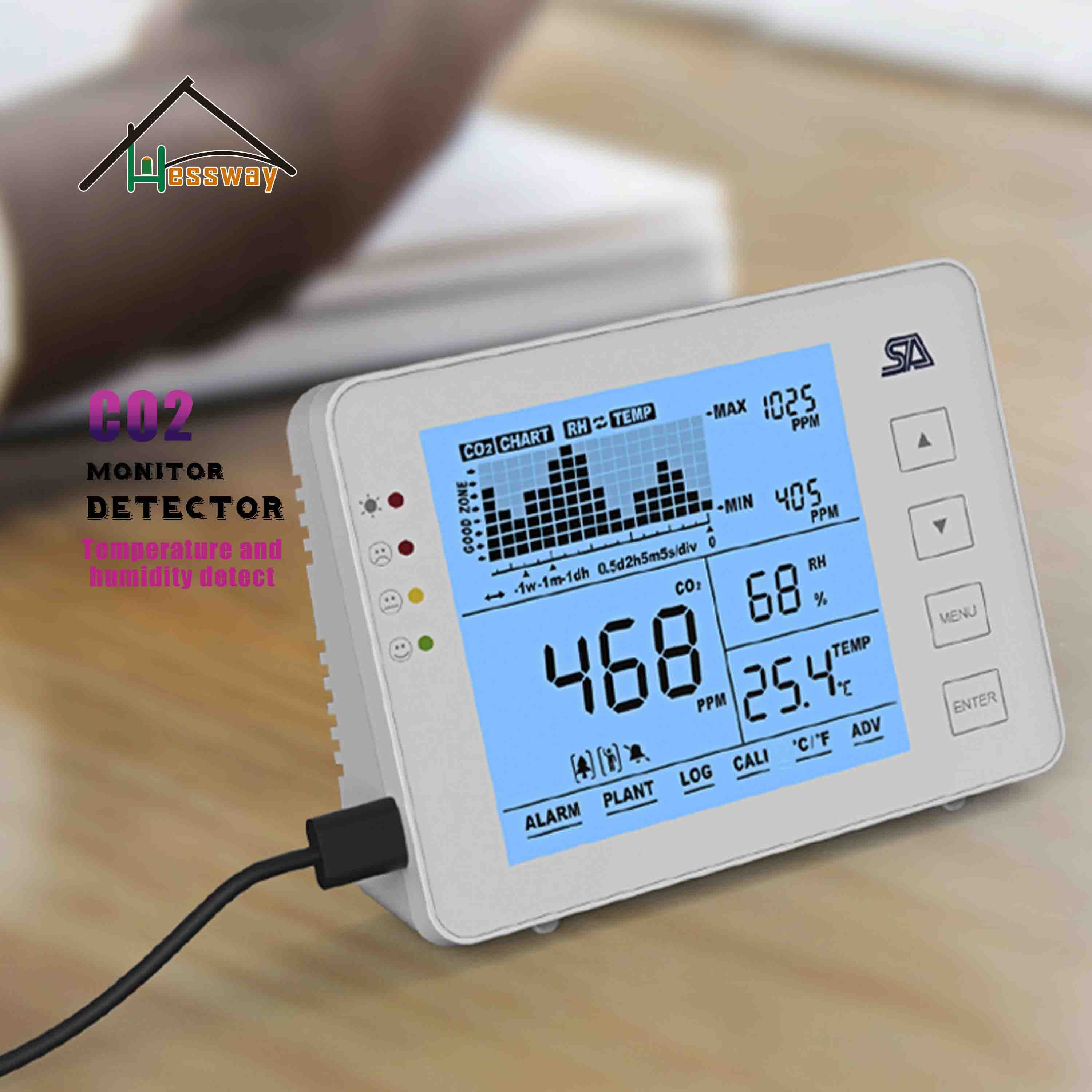 HESSWAY NDIR Air Quality Sensor Co2 Carbon Dioxide Monitor Detector Recall Function For 3 In 1 Temperature Humidity Detector