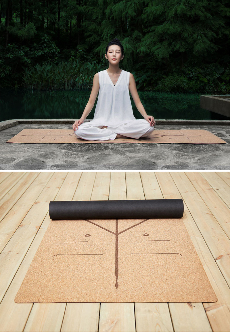 XIAOMI YUNMAI 4mm Natural Rubber Soft Cork Yoga Mat 11