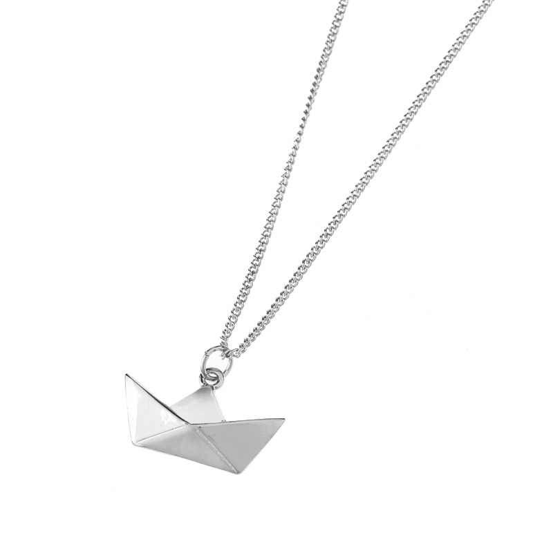 Lastest gioielli accessori moda in metallo carta piegata flexagon fronte lingotto d'oro a forma di barca nave pendente della collana