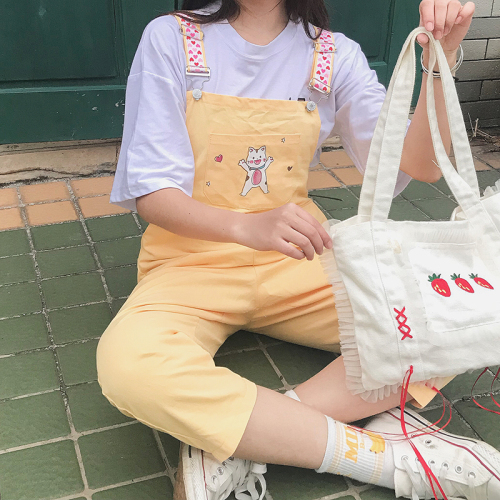 Denim Jumpsuit Women New Kawaii Heart Print Strap Cat Overalls Tops Playsuit Women Tie Dye Rompers Plus Size Women Jumpsuit