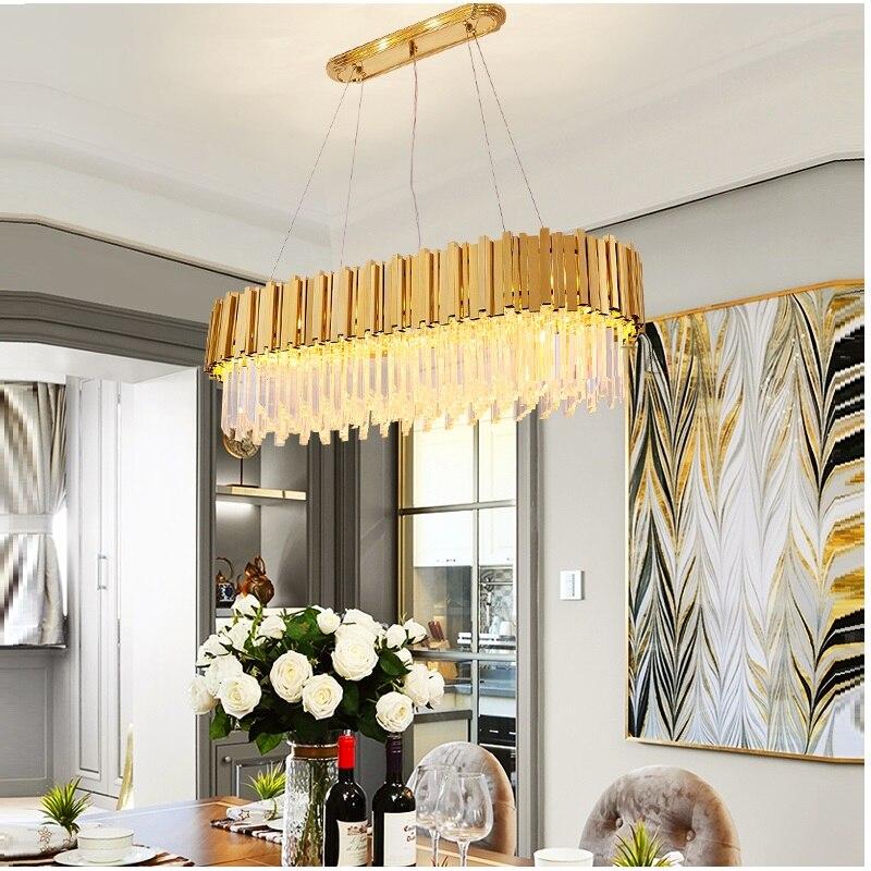 Luxury crystal Chandelier Lighting LED Rectangle for Dinning Room lights Living room Gold LED Chandelier Lights
