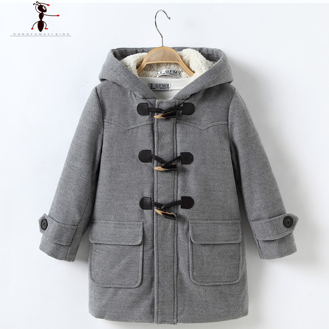 Single-breasted Woolen Winter Autumn Hooded wool coat boys casaco Solid Fashion Clothes  Blends Cotton 2527