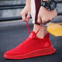 4D flying woven sneakers running shoes breathable mesh small white