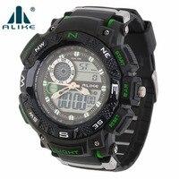 ALIKE AK1389 Digital Sport Date Chronograph Back Light Men Wrist Watch With Orange Black Red Green