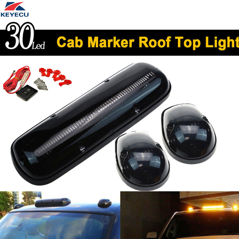 KEYECU 3 Pieces Smoke Amber 30 LED Cab Marker Roof Clearance Lights Assembly for 02-07 GMC Chevy