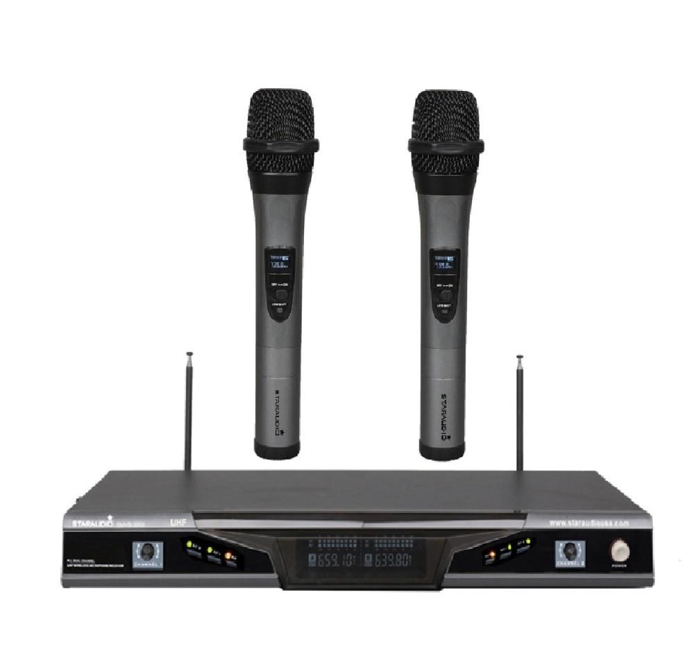 STARAUDIO  2Ch Black Wireless Pro DJ UHF Church Dual Handheld Microphone System Mic SMUB-2005A acemic pr 6 v2 uhf 500 980mhz 32ch wireless saxophone trumpet mic microphone