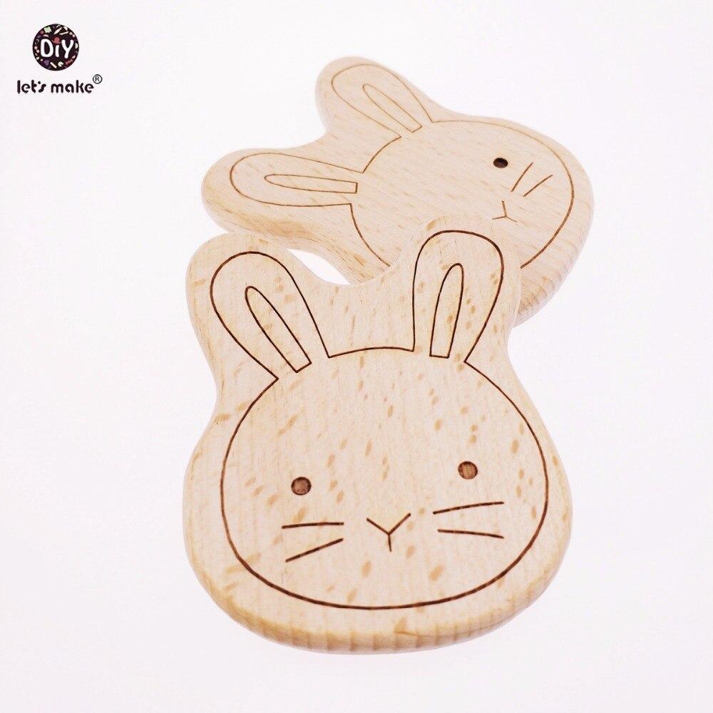 Készítsünk Baby Teether Big Size 5db befejezetlen mosollyal nyúl faragott fából készült bükk játék élelmiszer-minőségű fa teether személyre DIY