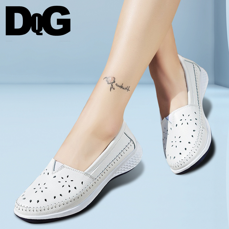 DQG 2018 Spring Women Leather Loafers Sliver White Black Boat Shoes Woman Caucal Slip On Cutout Flats Ballet Shoes Walking Shoes