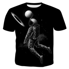 Men T Shirt New Hot Ball Series 3D Digital Astronaut Printing Loose  Casual Mens Short Sleeve Sweatshirt Clothing Tops