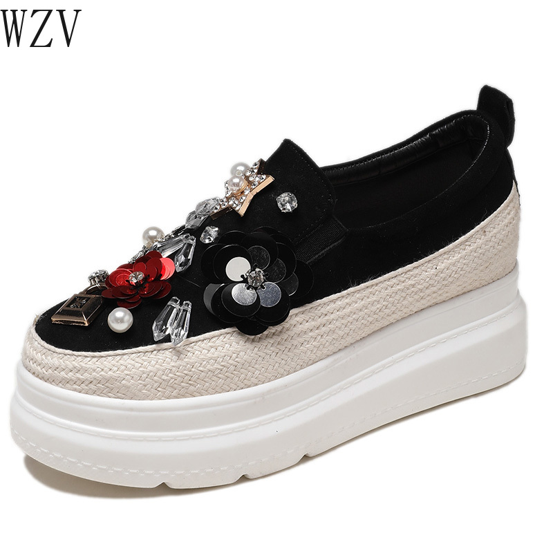 2019 Spring Women Flats Shoes Diamond Platform Sneakers Shoes   Suede     Leather   Casual Shoes Slip on Flats Heels Creepers Moccasins