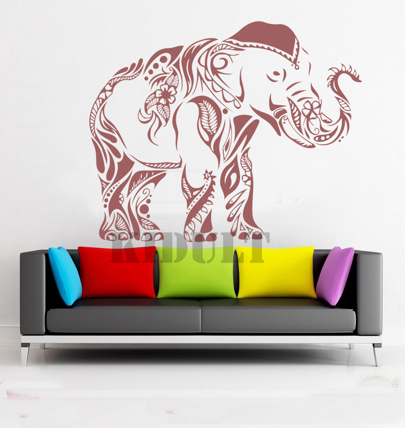 Household Items Creative Home Decorations Wall Stickers Wall Stickers Mehndi Indian Elephant Yoga Folded Vinyl Wall