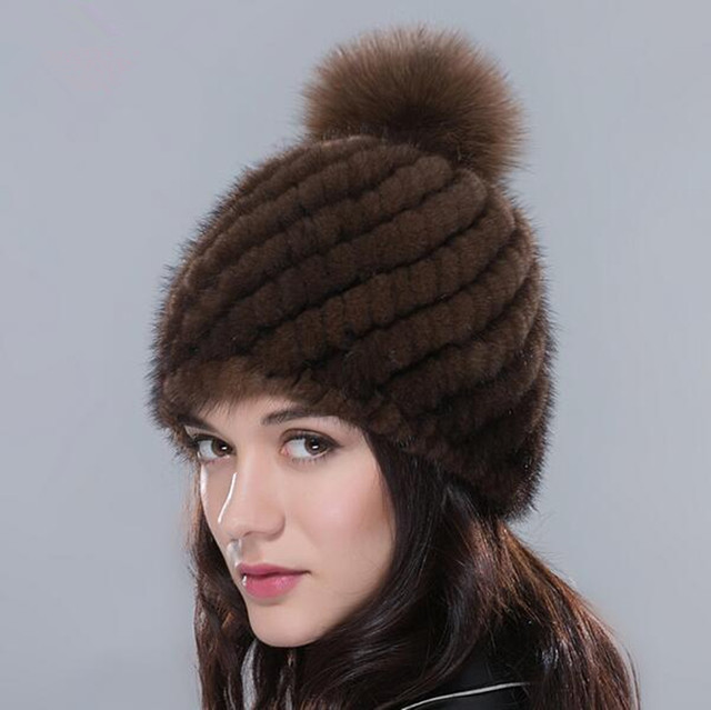 936644fd7e3d2 Real Mink Fur Hat Cap with Fox Fur Pompoms Hats Winter Knitted Mink Fur  Beanies