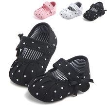 CANIS nowonarodzone dziecko dziewczyna miękkie Dot Ruffles na co dzień podeszwa płótno szopka buty antypoślizgowe Sneaker Prewalker w wieku 0-18M gorąca sprzedaż tanie tanio Baby girl Polka dot Dla dzieci Pasuje prawda na wymiar weź swój normalny rozmiar Crib shoes RUBBER Wszystkie pory roku