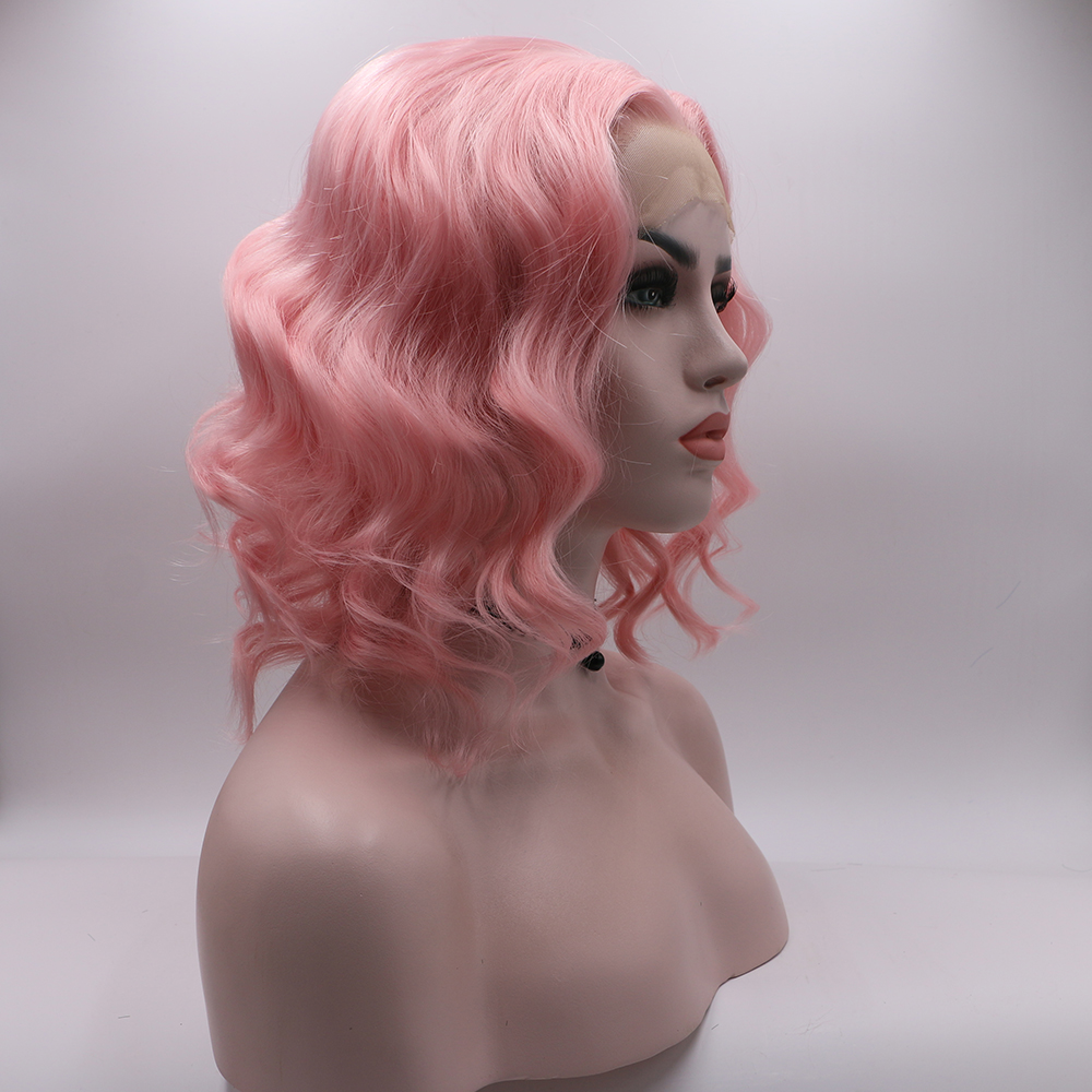 Bombshell Pink White Blonde Short Loose Wave Bob Synthetic Lace Front Wig Glueless Heat Resistant Fiber