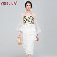 YIGELILA Summer Women Long Party Dress Fashion O neck Lantern Sleeve Empire Slim Mid Length Embroidery Mesh Dress Wedding 62736