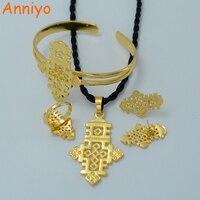 Комплект ювелирных изделий Anniyo, комплект ювелирных изделий с подвеской золотого цвета, серьги, кольцо, браслет #006206