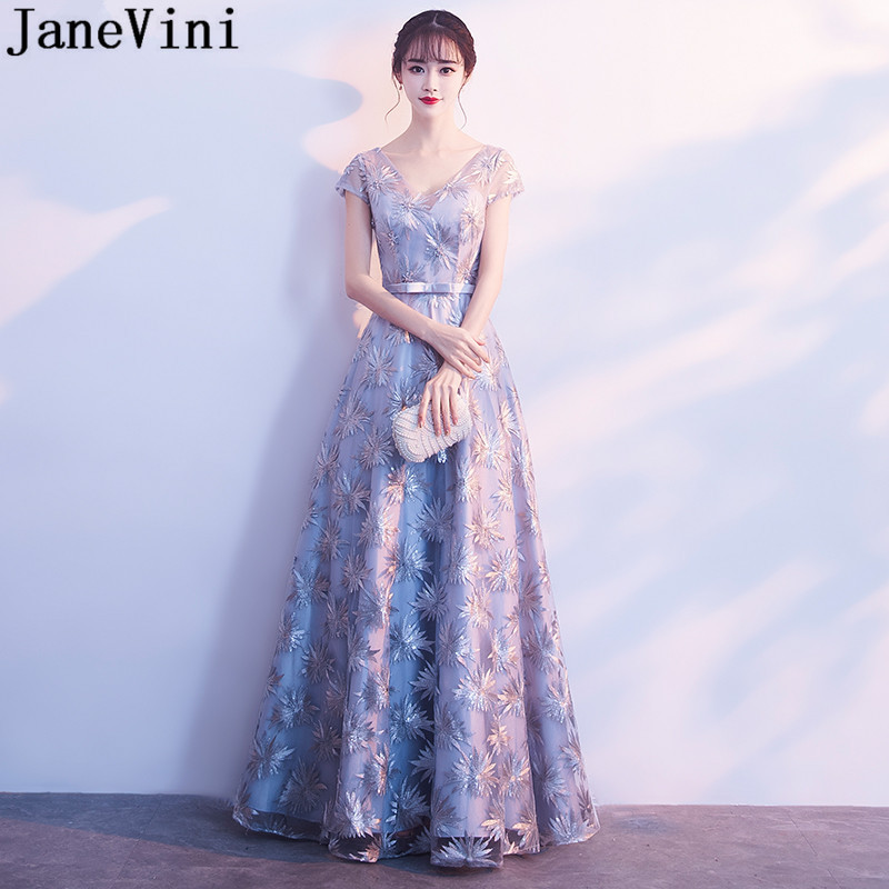 JaneVini Gray Sequined Long   Bridesmaids     Dresses   Cap Sleeve Shiny Backless Wedding Party   Dress   For Women Festa De Casamento 2019