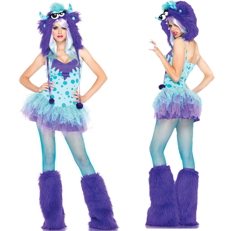 Sexy Plush Costume Set Women Monster James P. Sullivan Cosplay Winter Hat Female Leg Warmer Halloween Christmas Party Mini Dress