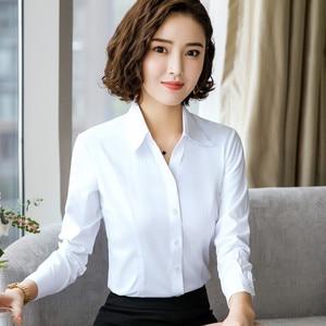 Image 4 - 2019 New Autumn Women Cotton Shirt Fashion Temperament Long Sleeve Slim Formal Blouse Office Ladies Work Tops White Blue