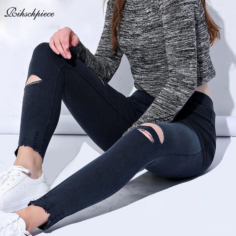 Rihschpiece 2018 Ripped Plus Size 6XL Leggings Women Pants Black Punk Thick Jeggings High Waist Legging Slim Trousers RZF1482