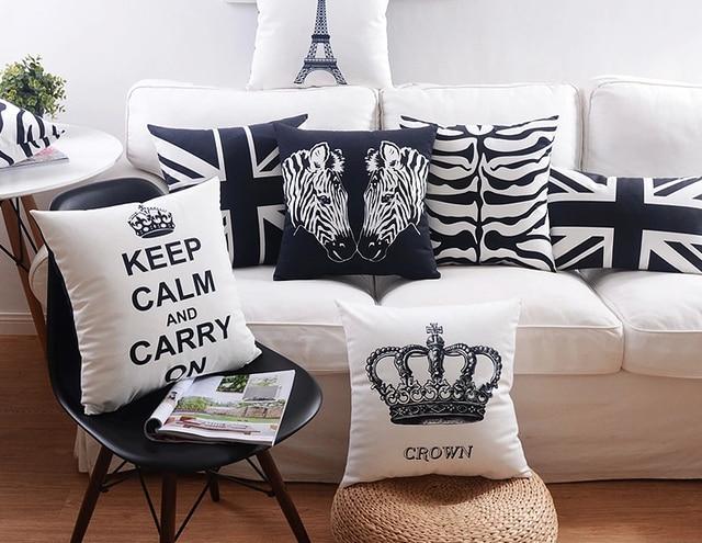 Black And White Geometric Stripes Decorative Cushion Cover Paris Crown Uk Flag Zebra Pillow Covers Sofa