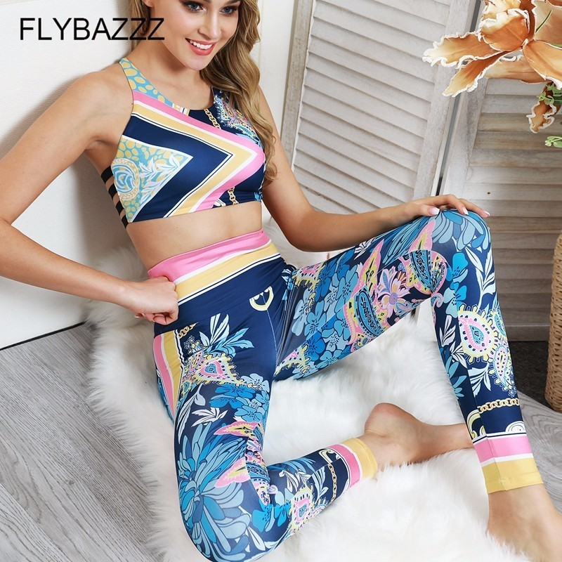 Floral Printed Yoga Set Sportswear Woman Fitness Suit Sports Suits For Women Running Exercise Clothing Gym Tracksuit