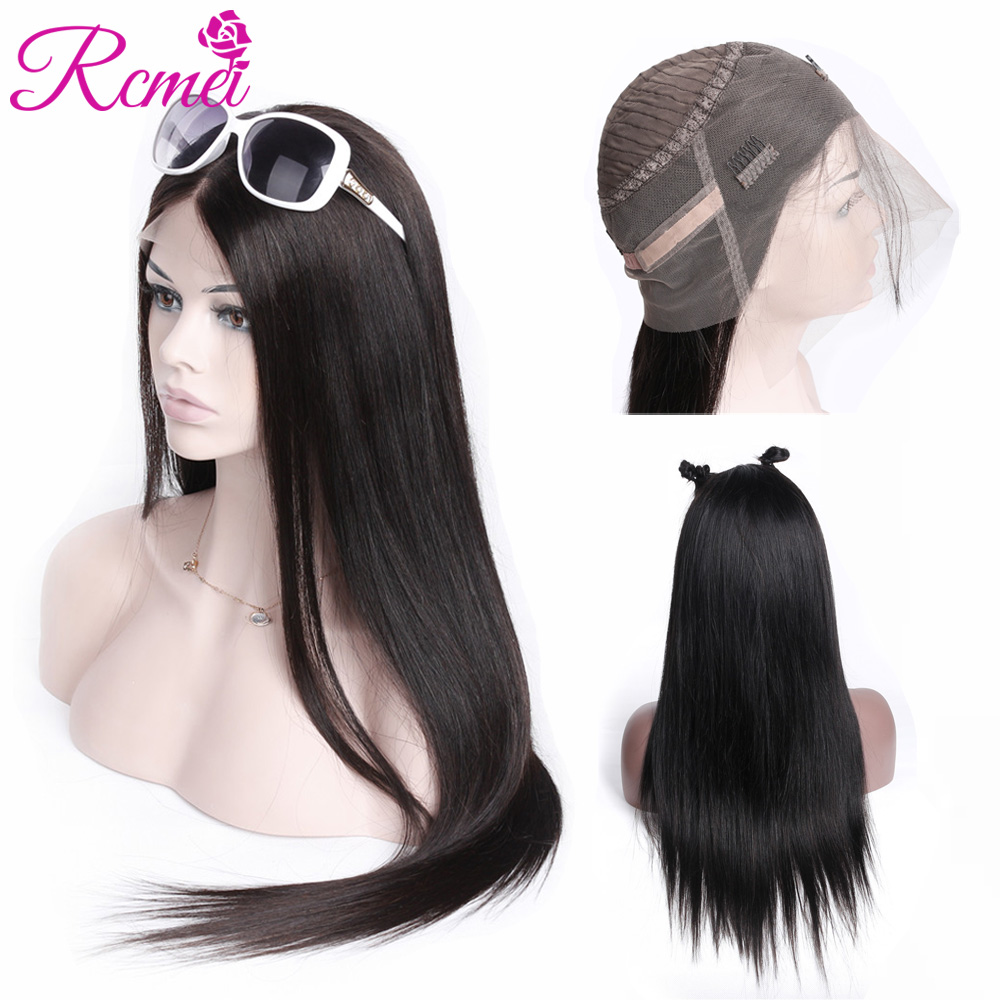 Rcmei 360 Lace Frontal Wigs Brazilian Straight Remy Human Hair 360 Frontal Wigs Natural Pre Plucked