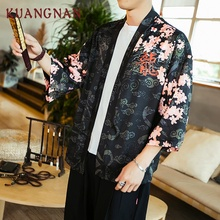 KUANGNAN Summer Japanese Kimono Cardigan Men Thin Dragon Kimono Cardigan Men Streetwear Men Kimono Jacket Coat Male 2018