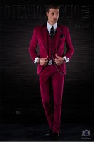 2017 Latest Coat Pant Designs Hot Pink Velvet Men Suit Slim Fit 3 Piece Tuxedo Italian Custom Groom Party Blazer Terno Masculino
