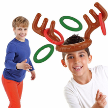 5pcs/lot Santa Funny Reindeer Antler Christmas Toy Children Kids Headgear Inflatable Hat Ring Toss Christmas  Supplies Toy